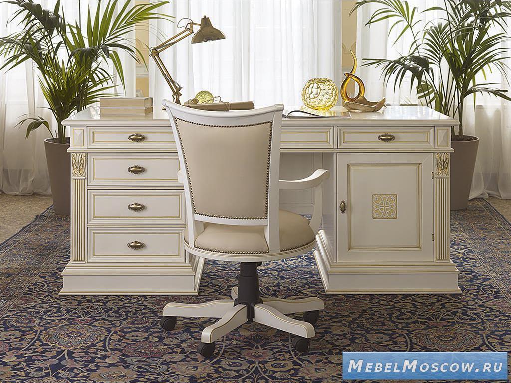5209190 claudio saoncella стол письменный с 2мя тумбами (бел.