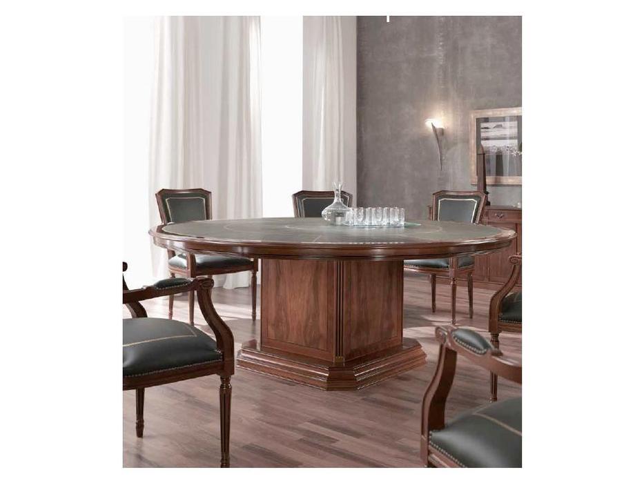 Inter CL. Mobilia стол переговорный круглый кож. Зам. (орех, корень ясеня, зеленый) Stilum