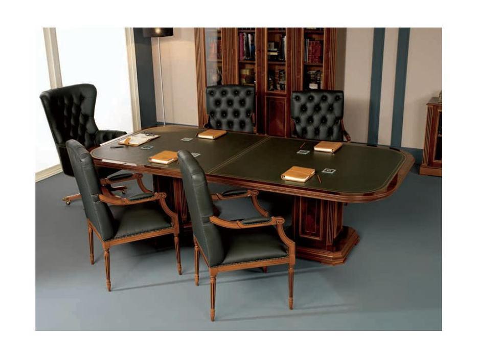Inter CL. Mobilia стол переговорный  (орех, корень ясеня, зеленый) Prestige