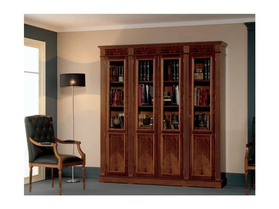 Inter CL. Mobilia шкаф книжный  (орех, корень ясеня, зеленый) Prestige