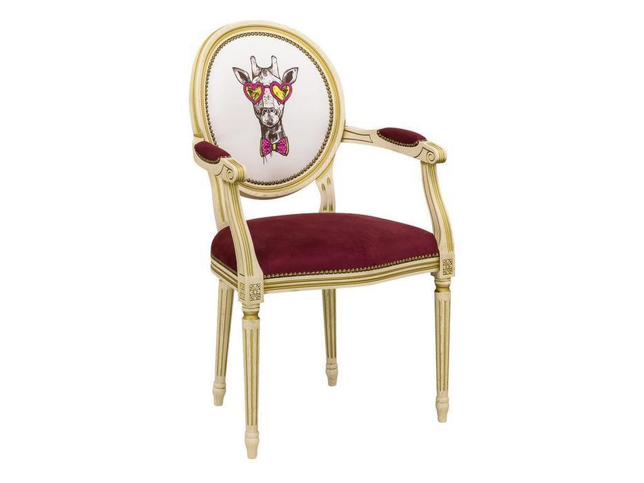 Оримэкс стул с подлокотниками  (орех, ткань) Цезарь