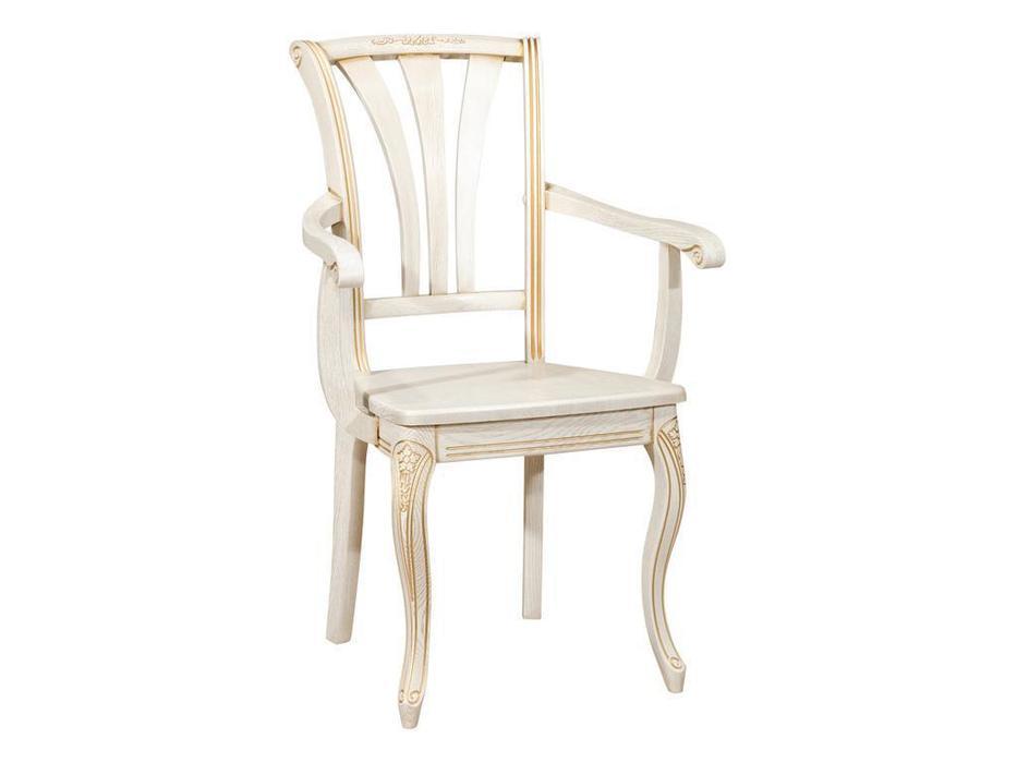 Оримэкс стул с подлокотниками жесткий (беленый дуб) Марсель-2
