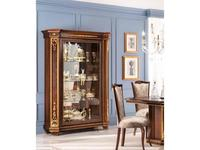 Arredo Classic шкаф книжный с дверцами, стенка зеркало, полки дерев. (орех) Modigliani