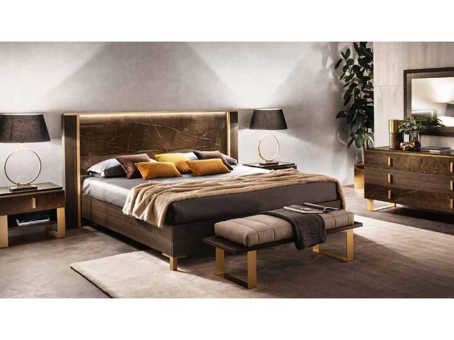 Arredo Classic кровать двуспальная 160х200 (венге, коричневый, золото) Essenza