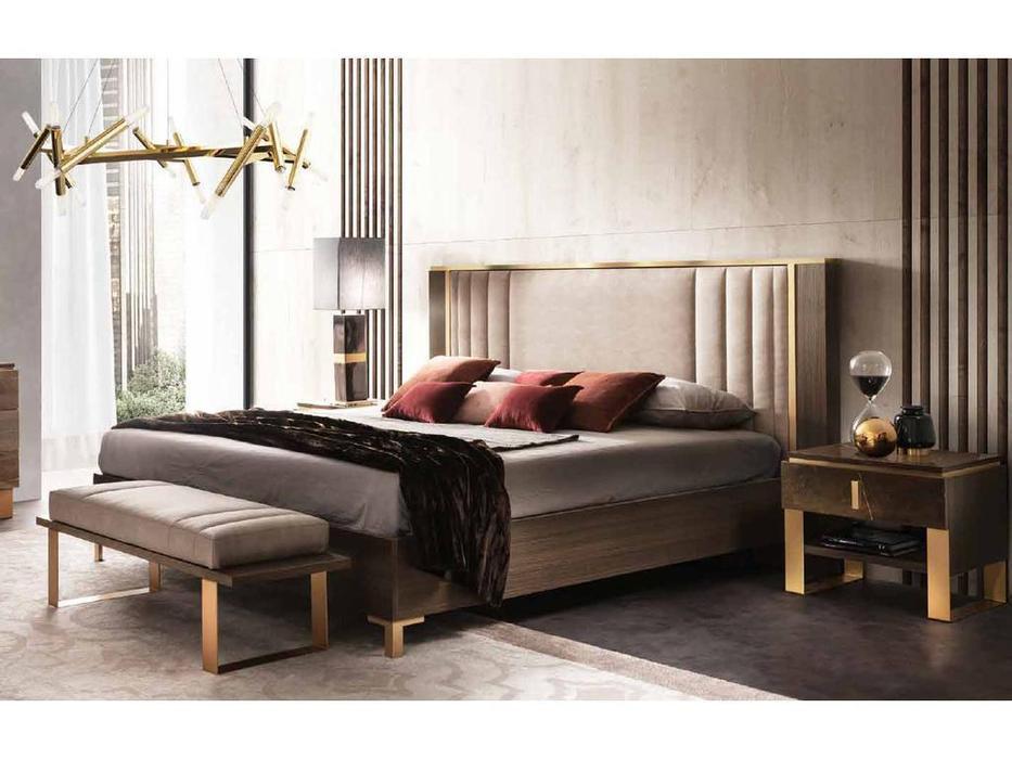 Arredo Classic кровать двуспальная 160х190 с мягкой спинкой (венге, коричневый, золото) Essenza