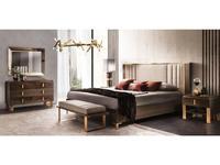 Arredo Classic кровать двуспальная 200х200 с мягкой спинкой (венге, коричневый, золото) Essenza
