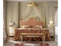 А М Ghezzani кровать двуспальная 160х190 без р/м мягкое изголовье без изножья (слоновая кость, золот