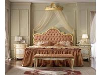 А М Ghezzani кровать двуспальная 180х200 без р/м мягкое изголовье без изножья (слоновая кость, золот