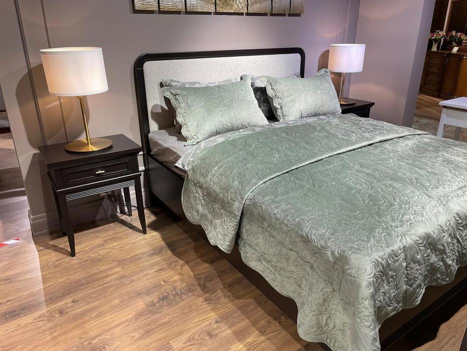 Liberty кровать двуспальная 160х200 с мягким изголовьем (черный) Берген