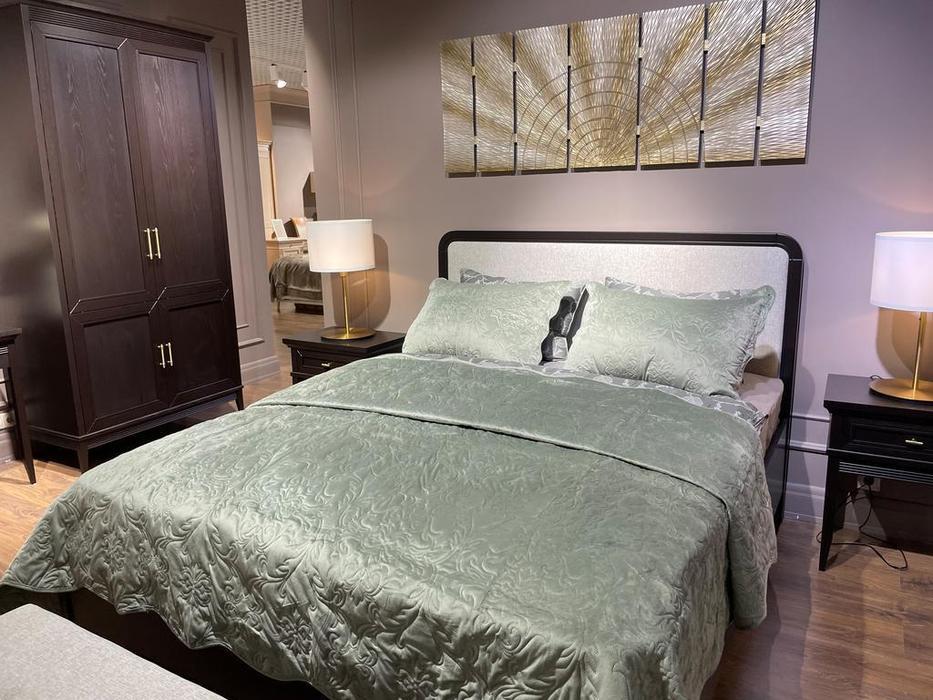 Liberty кровать двуспальная 180х200 с мягким изголовьем (черный) Берген