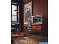 La Ebanisteria тумба под телевизор  (шоколад, красный) Quantum