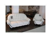 Nieri диван-кровать 3-х местный кожаный раскладной (белый, темный орех) Pompei