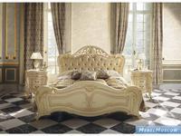 MobilPiu кровать двуспальная 180х200 ткань (слоновая кость, золото) Опера
