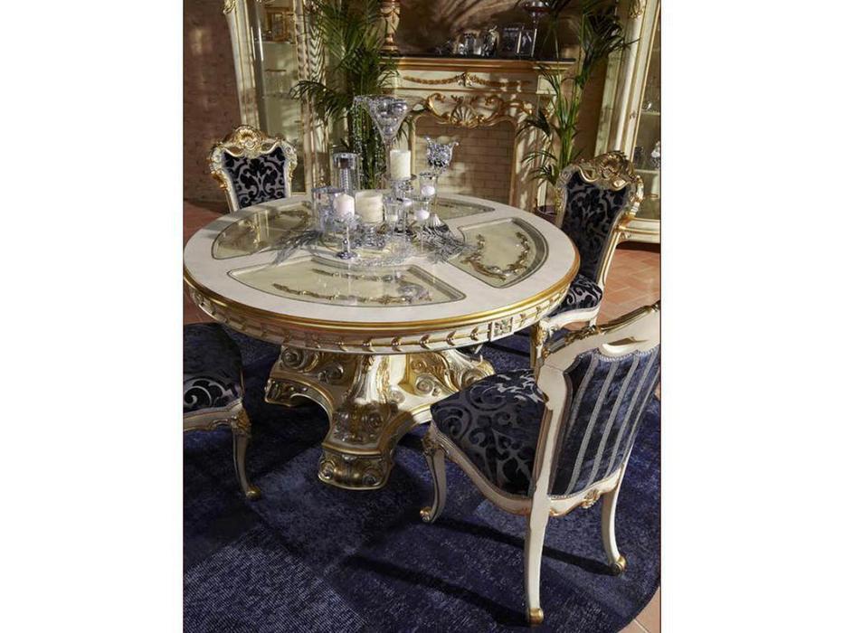 Moblesa стол обеденный со стеклянными вставками Gold