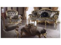 MobilPiu диван кат. VIP  обивка капитоне со стразами Сваровски (серый, золото) Регина