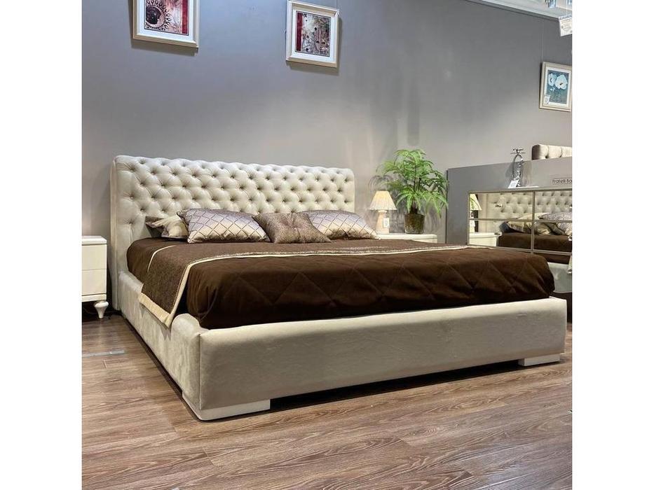 Fratelli Barri кровать 180х200 ткань ANYZO-94 (белый глянцевый лак) Roma