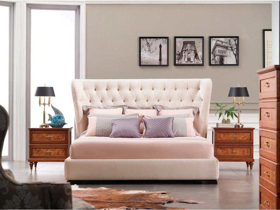 Fratelli Barri кровать 160х200 ткань velour 01 (шпон махагона) Selection
