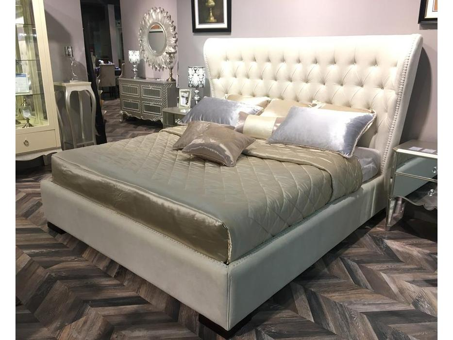 Fratelli Barri кровать 160х200  ткань velour 42 (шпон махагона) Selection
