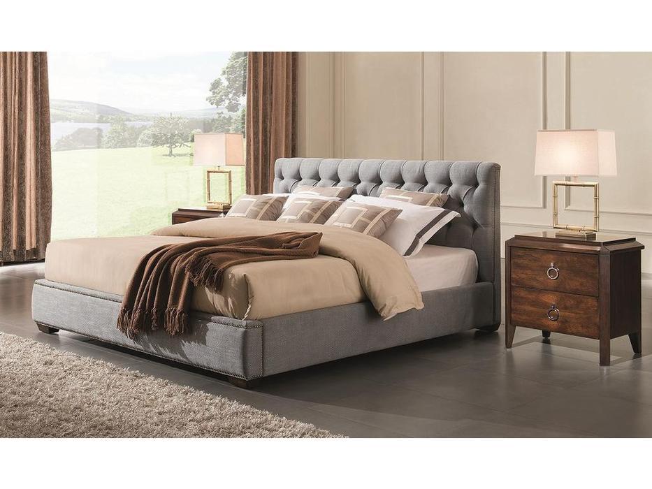 Fratelli Barri кровать 200х200 серо-голубая рогожка (шпон вишни) Mestre