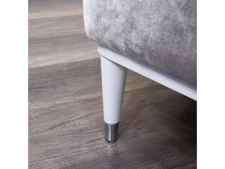 Fratelli Barri банкетка серебристо-серый велюр (белый глянцевый лак) Rimini