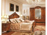 Barnini Oseo кровать двуспальная с изножьем 184х203  с золотым украшением (орех, золото) Reggenza Lu
