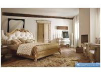 Volpi кровать двуспальная 160х190  дерево class 3. ткань cat. B (золото состаренное) Notti