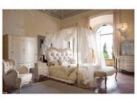 Volpi кровать двуспальная 160х190  дерево class 2. ткань cat. C (слоновая кость) Notti
