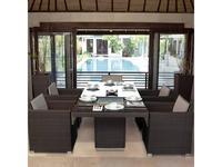 Skylinedesign садовый стол со стеклом (черный кофе) Pacific