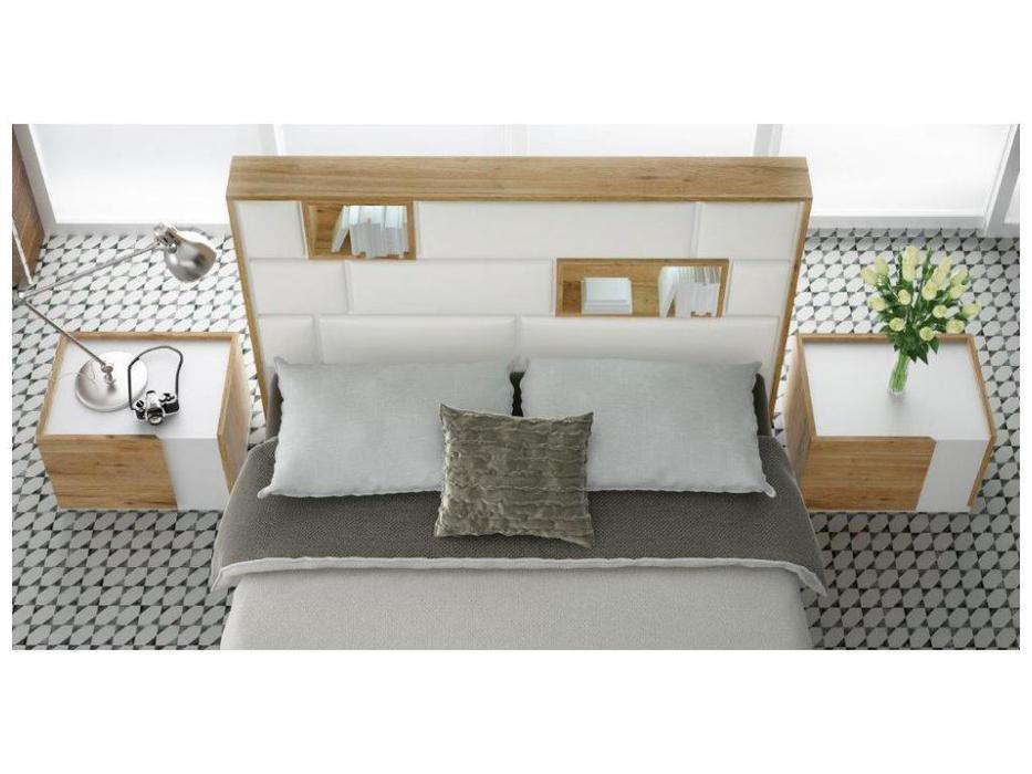 Fenicia Mobiliario спальня современный стиль 180 (белый матовый, натуральный шпон дуба) 611