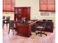 Ришар стол письменный  (шпон черешня, кожа тёмно-зелёная) Richard