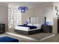 Status кровать двуспальная 198 x 203 Geo с мягким изголовьем (серый) Sarah