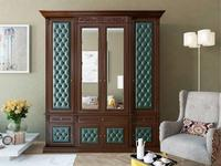 Благо шкаф 4 дверный с декором (орех, зеленый) Благо