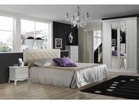 ЯМ кровать 160х200 с мягким элементом (выбеленный дуб) Амели
