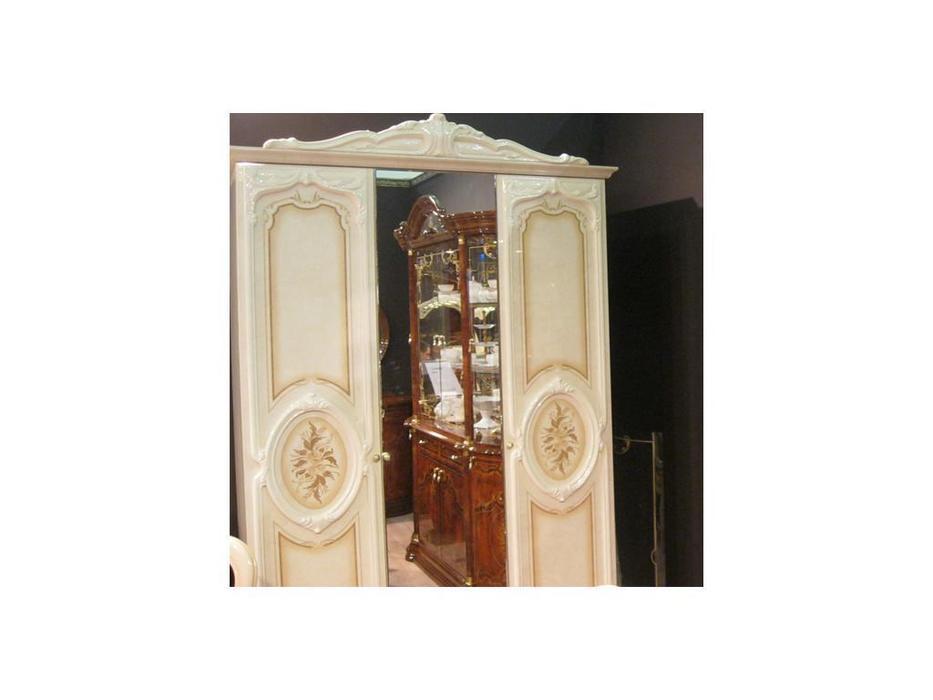 Dia шкаф 3 дверный с зеркалом (бежевый) Роза