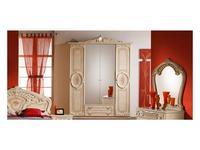 Dia шкаф 4-х дверный с зеркалами (бежевый) Роза