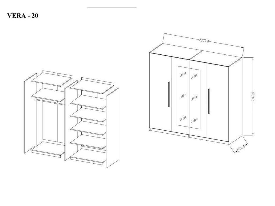 Helvetia шкаф 4 дверный с зеркалами (бетон, белый) Vera