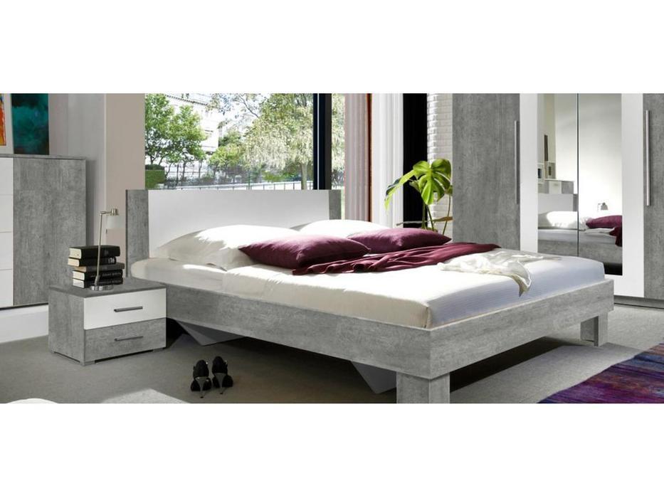 Helvetia кровать двуспальная 160х200 c 2 тумбочками (бетон, белый) Vera