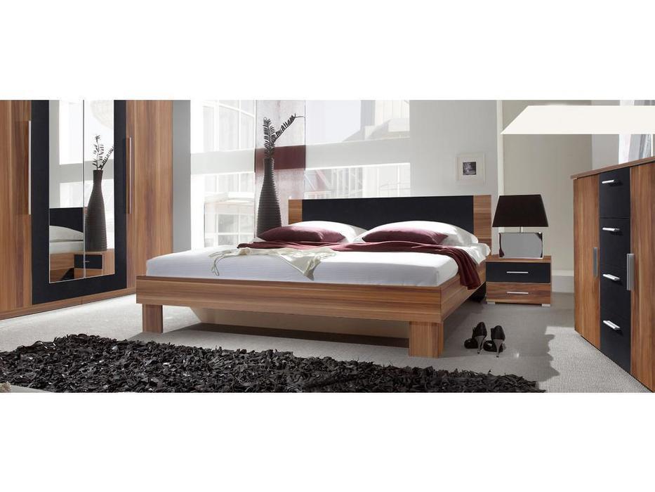 Helvetia кровать двуспальная 160х200 c 2 тумбочками (орех красный) Vera