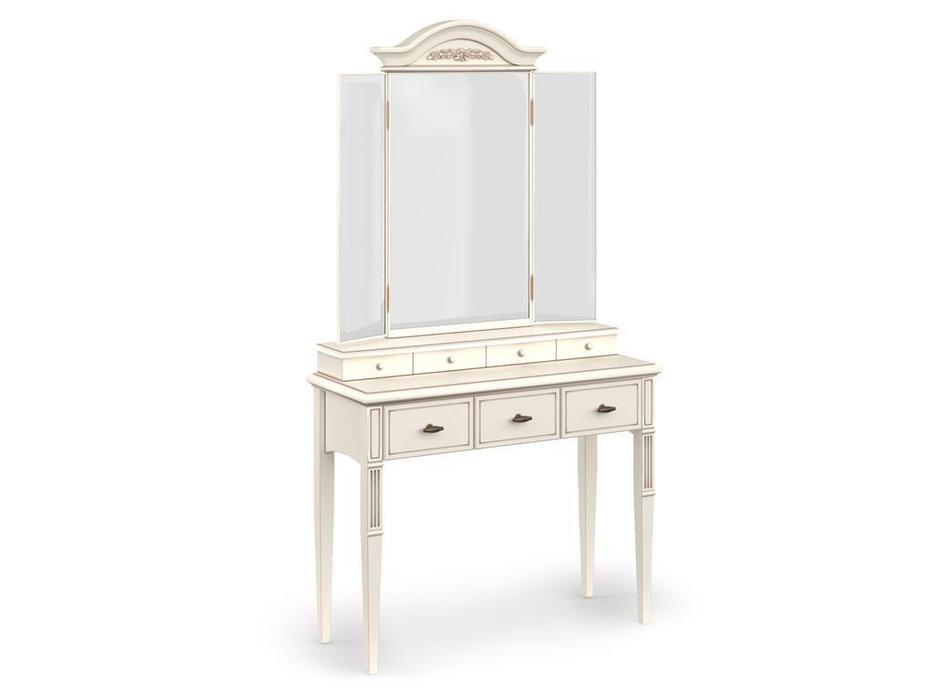 Arco стол туалетный с зеркалом (белый, патина) Прованс