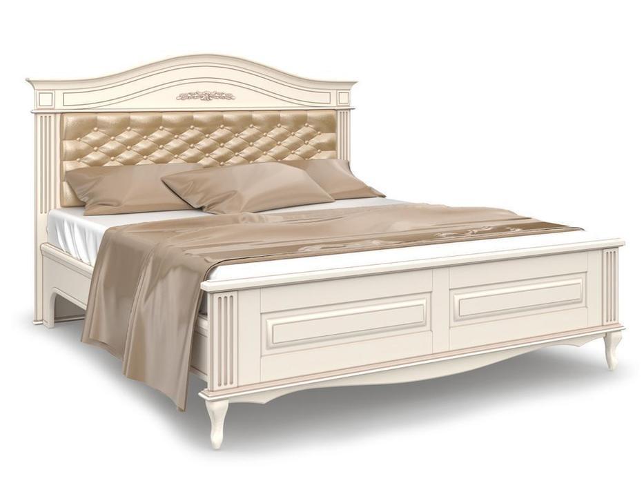 Arco кровать двуспальная 200х200 с мягким изголовьем (белый, патина) Прованс