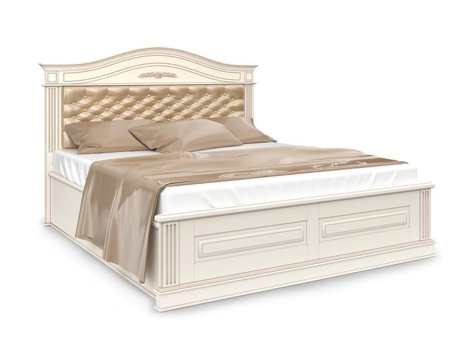 Arco кровать двуспальная 160х200 с мягким изголовьем и под-м мех-м (белый, патина) Прованс