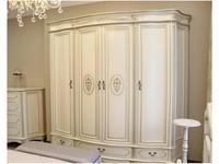 Юта шкаф 4 дверный  (белый, патина) Палермо