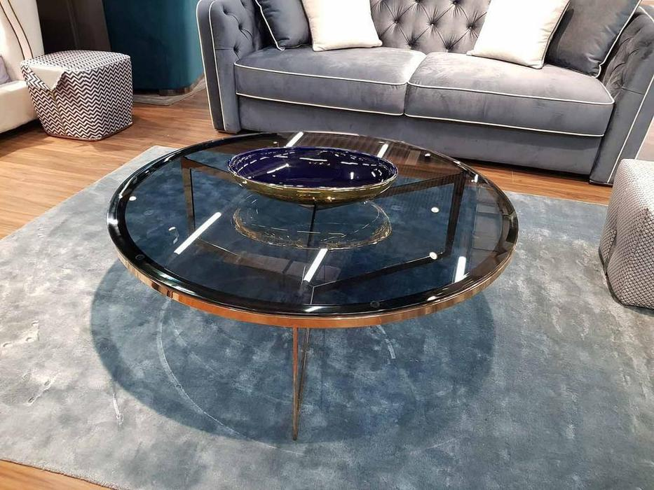 MHC стол журнальный  (серое стекло, золто) Delphi-C