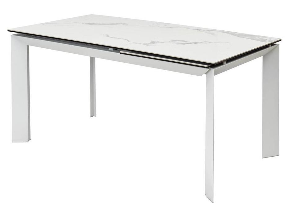 Megapolis стол обеденный раскладной (белый мрамор глянцевый, белый) Cremona