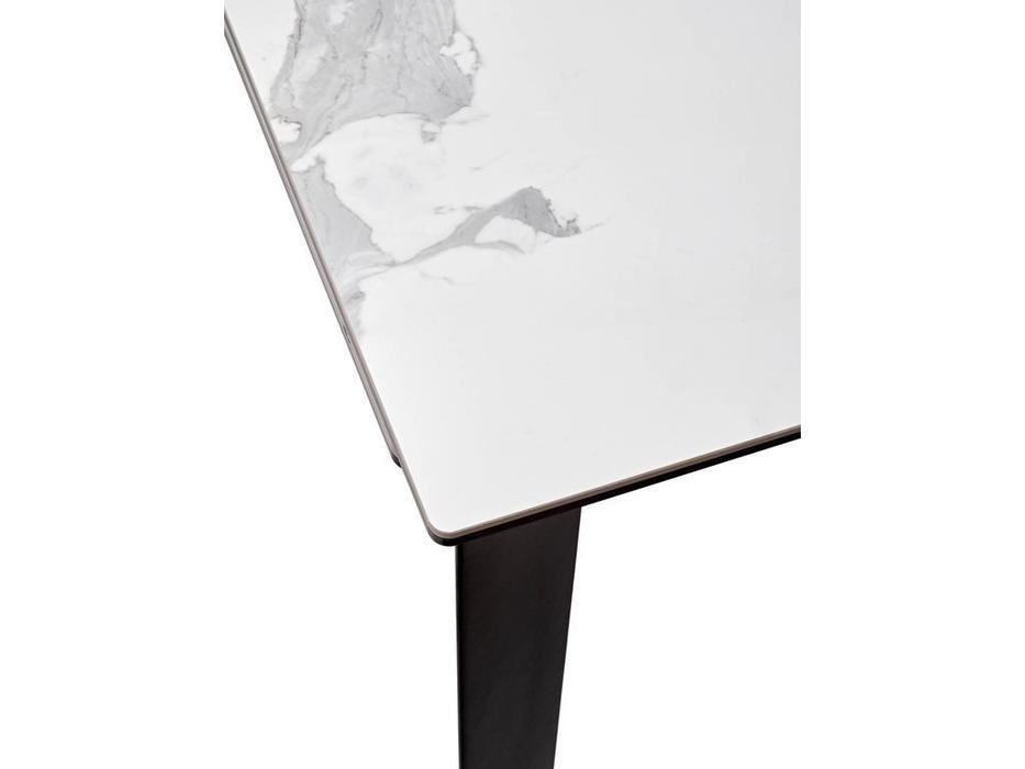 Megapolis стол обеденный раскладной (белый мрамор глянцевый, черный) Cremona