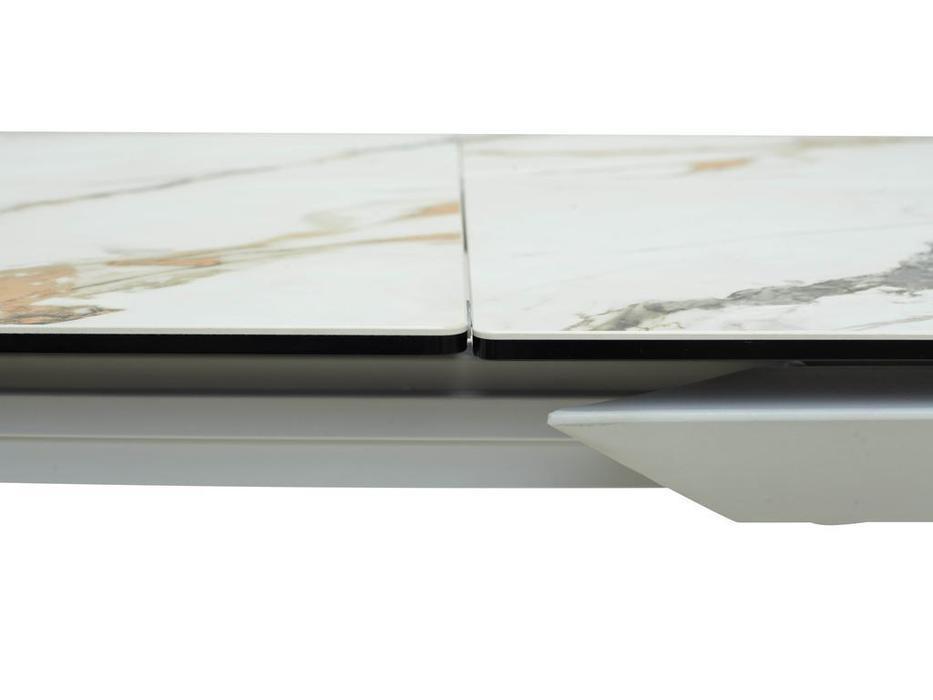 Megapolis стол обеденный раскладной (белый контрастный мрамор, белый) Cremona