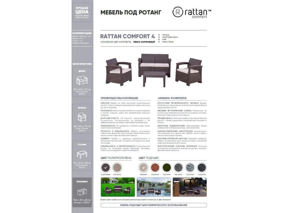 Rattan лаунж зона Comfort 4 (венге) Comfort