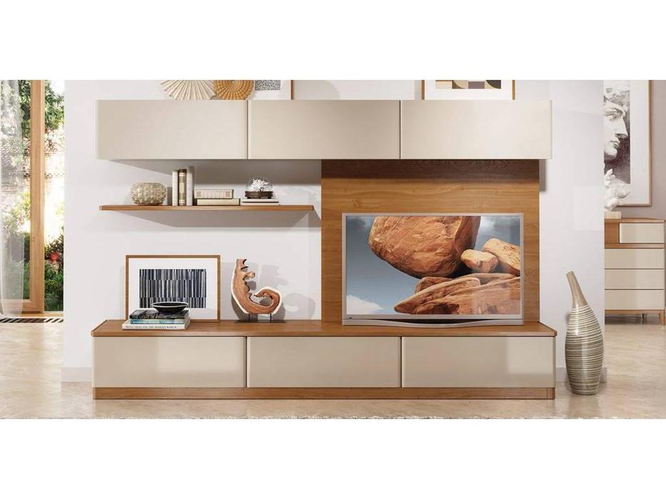 ММ стенка в гостиную композиция №2 (орех, мокко) Модена