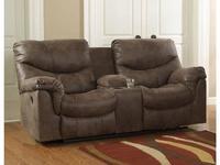 Ashley диван 2 местный реклайнер с консолью (коричневый) Alzena