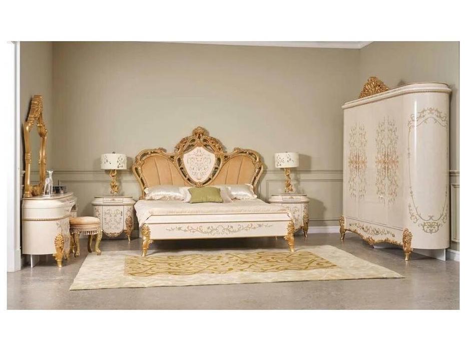 FurnitureCo спальня барокко с 4-х дверным шкафом (беж) Беатриче